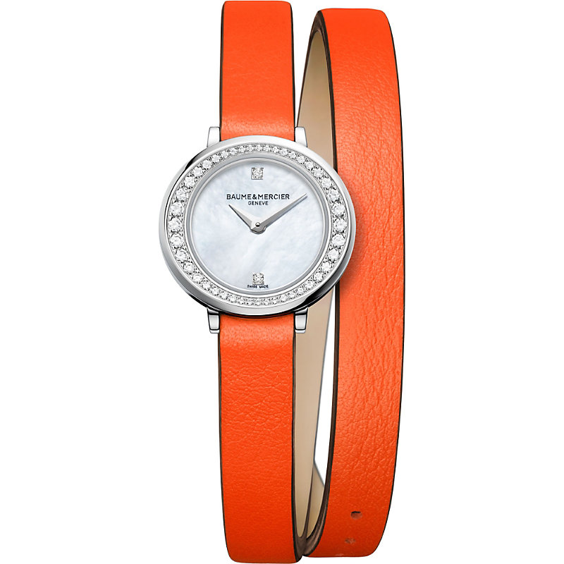 BAUME & MERCIER Petite Promesse 10290 Diamond, Stainless Steel & Wraparound Leather Strap Watch in Red