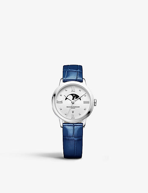BAUME & MERCIER: 10329 Classima stainless steel, diamond and satin-strap watch