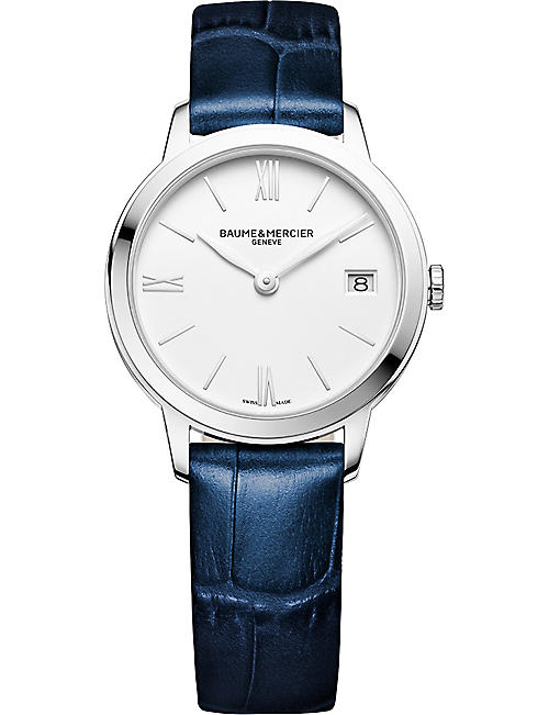 BAUME & MERCIER: M0A10353 My Classima stainless steel and croc-embossed leather watch
