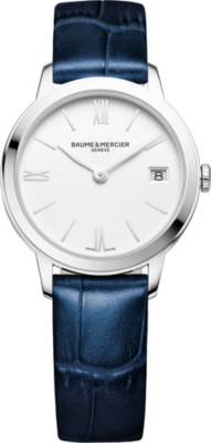 BAUME & MERCIER M0A10353 My Classima stainless steel and crocodile leather watch