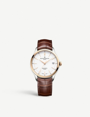 BAUME & MERCIER Clifton stainless steel and leather watch