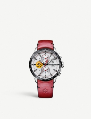 BAUME & MERCIER Clifton collection Burt Munro stainless steel and leather watch