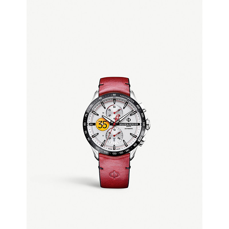 BAUME & MERCIER Clifton Collection Burt Munro Stainless Steel And Leather Watch in Red