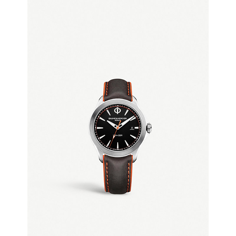 BAUME & MERCIER Clifton Stainless Steel And Leather Watch in Brown
