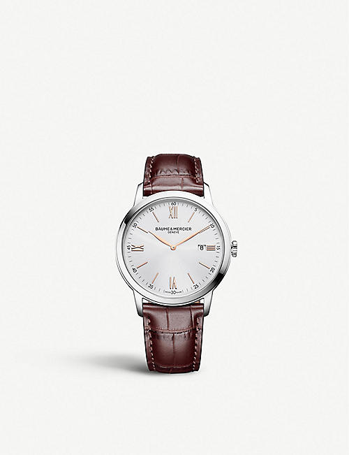 BAUME & MERCIER M0A10415 Classima stainless steel and leather strap watch