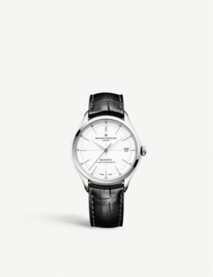 BAUME & MERCIER Clifton Baumatic stainless steel and leather automatic watch