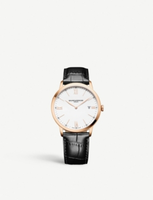 BAUME & MERCIER Classima PVD steel and leather automatic watch