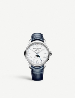 BAUME & MERCIER Clifton stainless steel and leather automatic watch