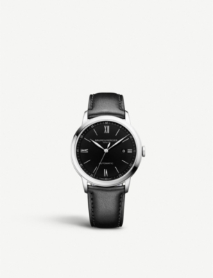 BAUME & MERCIER Classima stainless steel and leather automatic watch