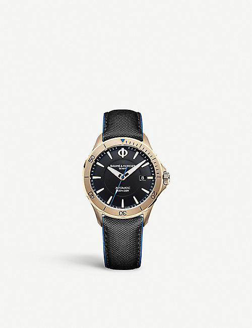 BAUME & MERCIER: Clifton stainless steel and leather watch