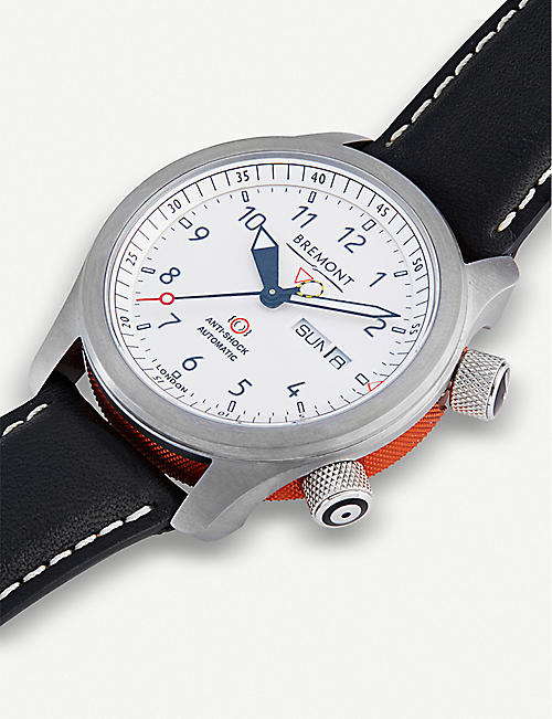 BREMONT MBII-WH/OR stainlesss teel and leather watch