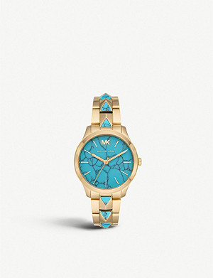 MICHAEL KORS MK6670 Runway gold-toned stainless steel and turquoise watch