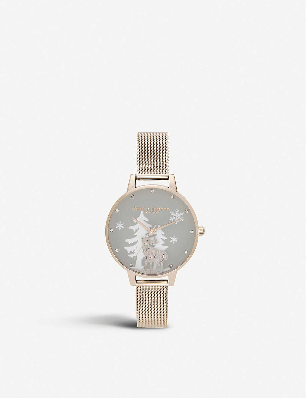 OLIVIA BURTON: OB16AW01 Winter Wonderland rose gold-plated stainless steel watch