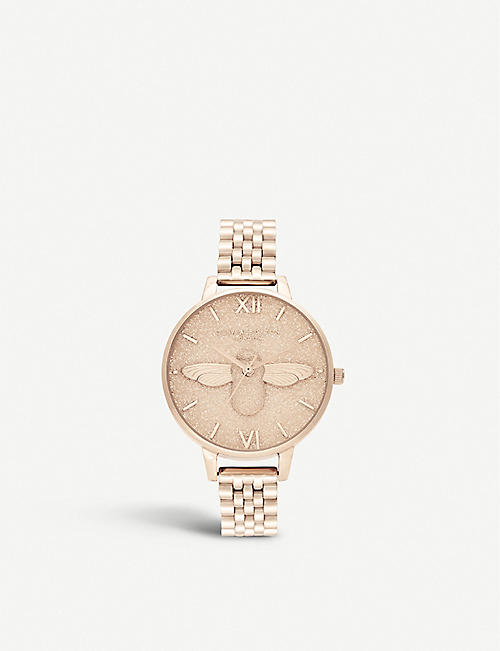 OLIVIA BURTON: OB16GD46 Glitter dial Glitter Dial rose gold-plated watch