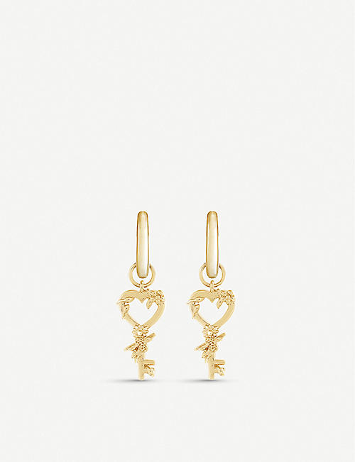 OLIVIA BURTON: Celebration Huggie yellow gold-plated sterling silver earrings