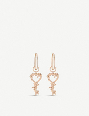 OLIVIA BURTON Celebration Huggie rose-gold-plated sterling silver earrings