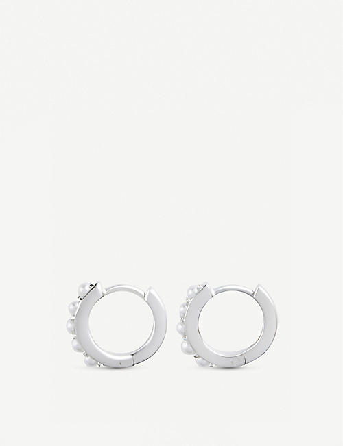 OLIVIA BURTON Huggie Hoop faux pearl-embellished sterling silver earrings