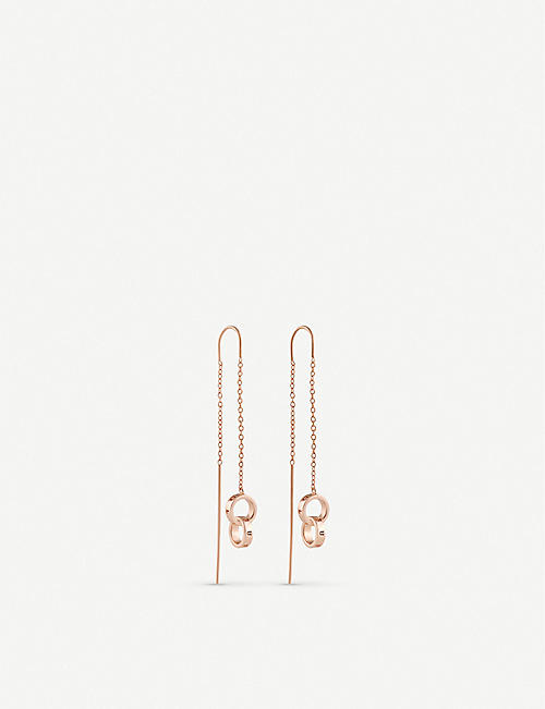 OLIVIA BURTON Interlink Threader rose-gold-plated sterling silver earrings