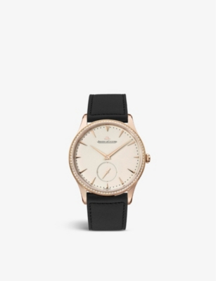 JAEGER-LECOULTRE Q1352502 18ct rose-gold and leather watch