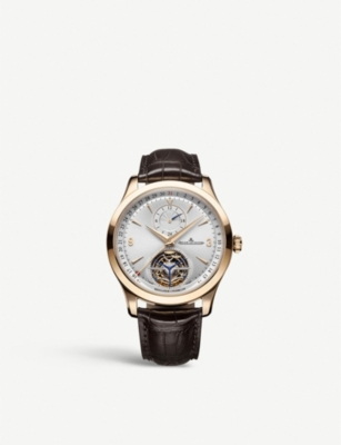 JAEGER-LECOULTRE Master tourbillon 18ct rose gold and leather watch