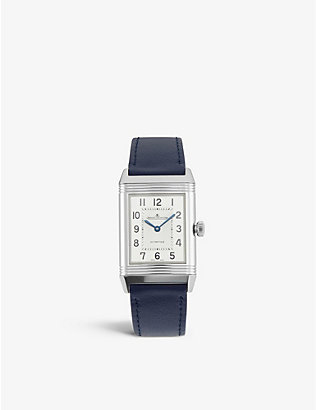 JAEGER-LECOULTRE: 2578420 Reverso Classic Medium Duetto stainless-steel and leather watch