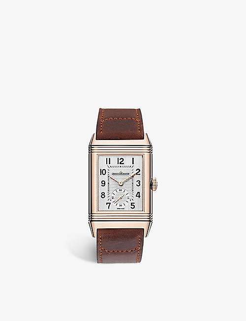 JAEGER-LECOULTRE 2602540 Reverso Classic rose-gold and leather quartz watch