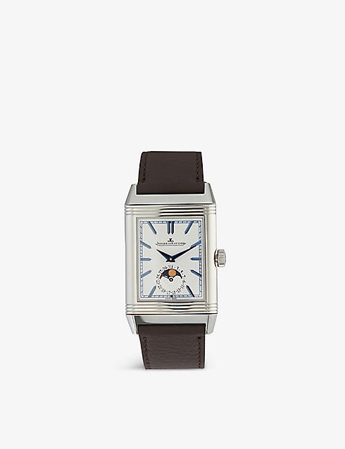 JAEGER-LECOULTRE: Q3958420 Reverso stainless steel and leather watch
