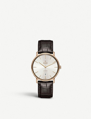 RADO R14068026 Diamaster rose gold-plated and leather strap watch