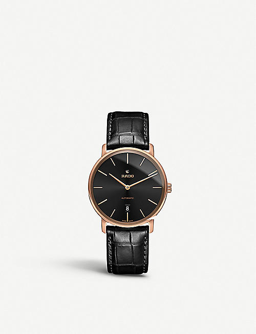 RADO R14068166 DiaMaster plated steel and leather strap watch