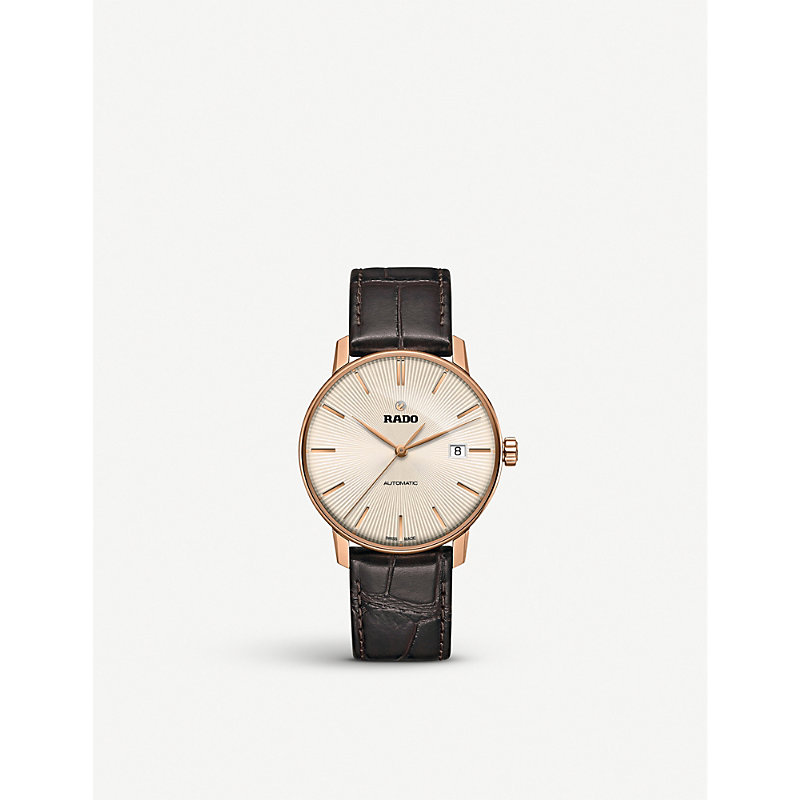 RADO Coupole Classic Automatic Leather Strap Watch, 38Mm in Gold/Brown