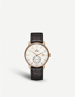 RADO: R22881025 Coupole Classic rose gold-plated and leather chronograph watch