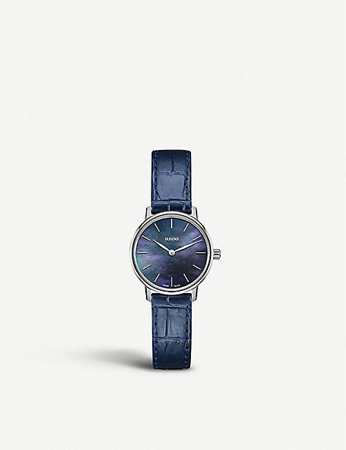 RADO: R22897915 Coupole Classic stainless steel and leather watch
