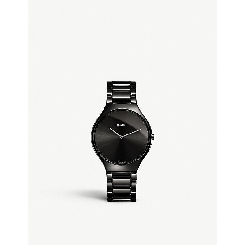 RADO True Thinline Ceramic Bracelet Watch, 39Mm in Black