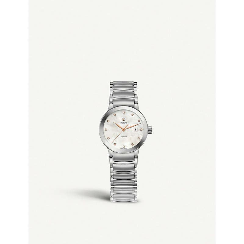 RADO R30027923 Centrix Mother-Of-Pearl And Stainless Steel Watch in Silver