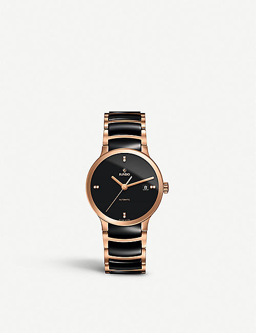 RADO: R30036712 Centrix rose gold and ceramic watch