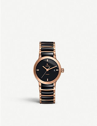 RADO: R30183712 Centrix rose gold and black ceramic watch