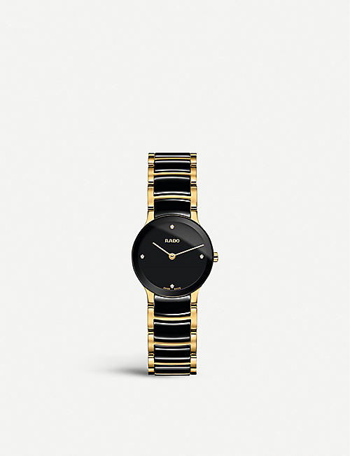 RADO R30189712 Centrix gold and ceramic watch