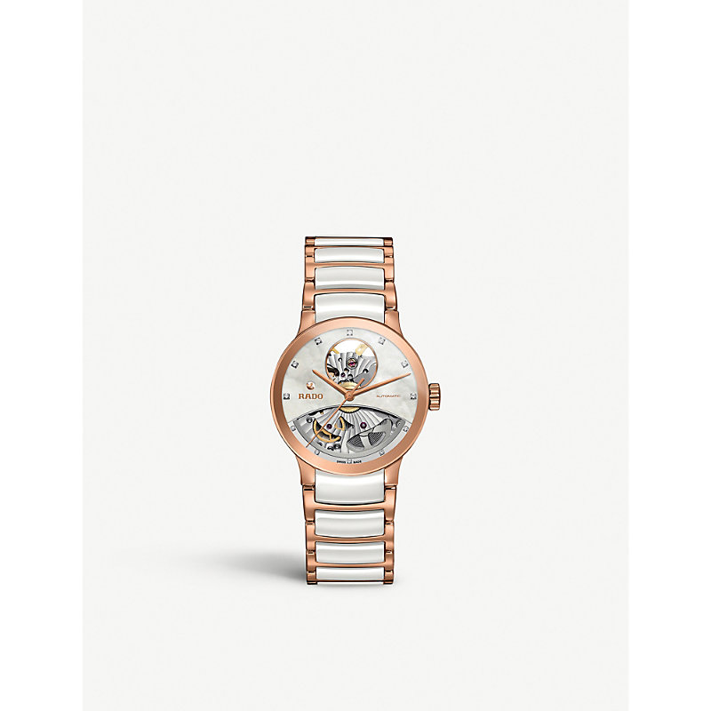 RADO Centrix Open Heart Automatic Diamond Ceramic Bracelet Watch, 33Mm in Two Tone