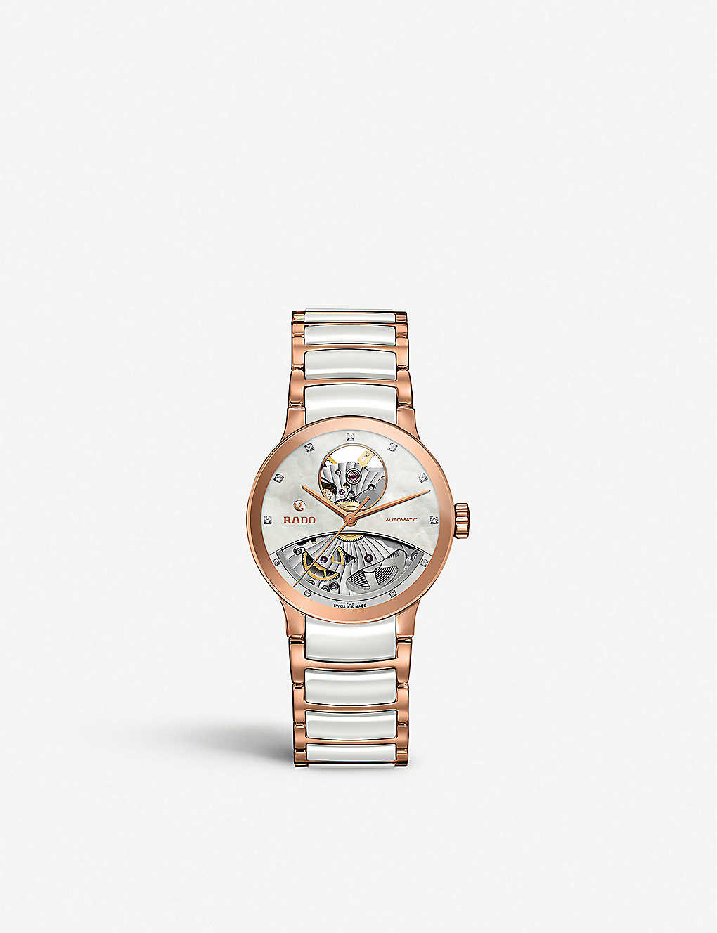 RADO: R30248902 Centrix rose gold and mother-of-pearl open heart watch