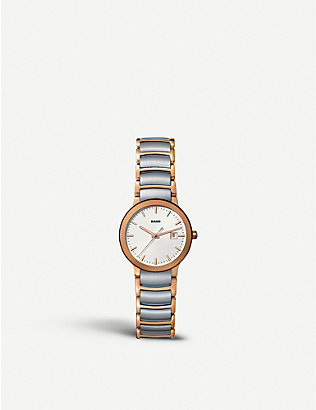 RADO: R30555103 Centrix rose gold and stainless steel watch