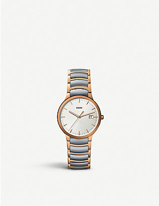 RADO: R30554103 Centrix rose gold and stainless steel watch