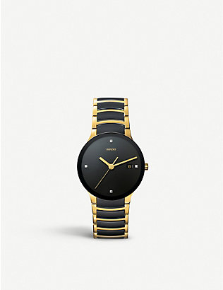 RADO: R30929712 Centrix Centrix gold and black ceramic watch