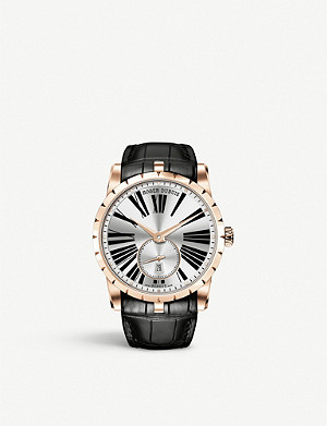 ROGER DUBUIS RDDBEX0538 Excalibur 18ct rose gold plated stainless steel and leather watch
