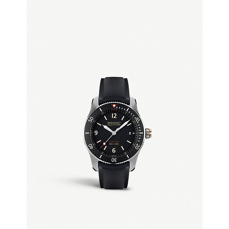 BREMONT S300Bk Supermarine Automatic Stainless Steel Watch in Silver/Black