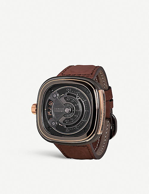 SEVEN FRIDAY M2B/0 rose-gold PVD-coated stainless steel and leather strap watch