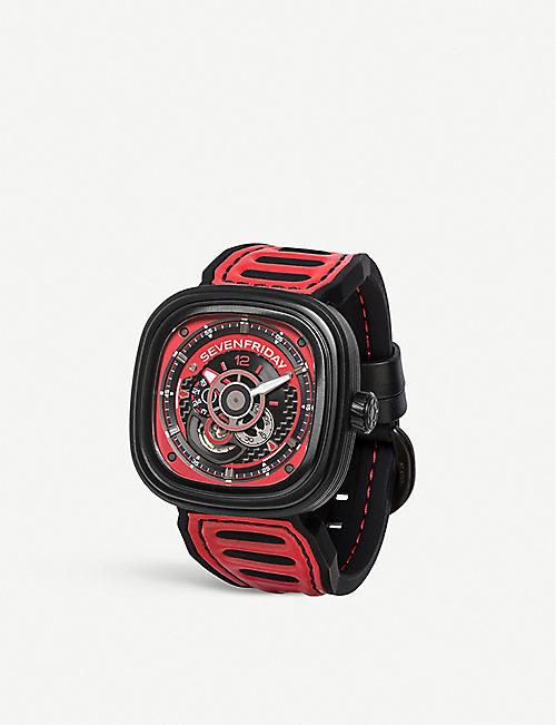 SEVEN FRIDAY SFP3B06 Racing Team black PVD and leather strap watch