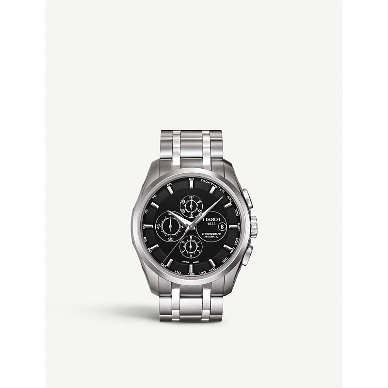 TISSOT Couturier Men'S Black Automatic Stainless Steel Watch, 43Mm in Silver/ Black/ Silver