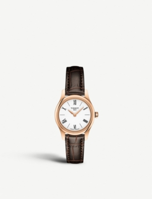 TISSOT T063.009.36.018.00 Tradition rose-gold plated and leather quartz watch