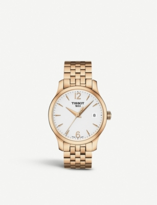 TISSOT T063.210.33.037.00 Tradition rose gold-toned stainless steel watch