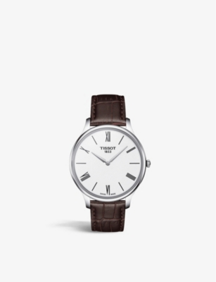 TISSOT T063.409.16.018.00 Tradition stainless steel and leather quartz watch